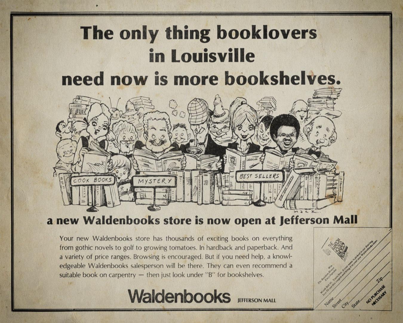 Jefferson Mall Waldenbooks advertisement