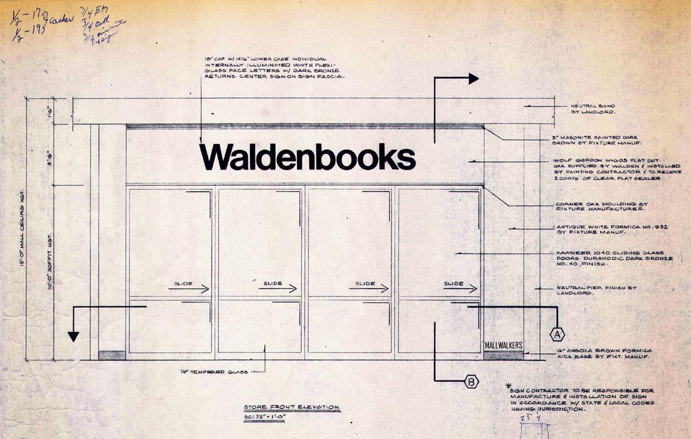 Waldenbooks Storefront Elevation Blueprint