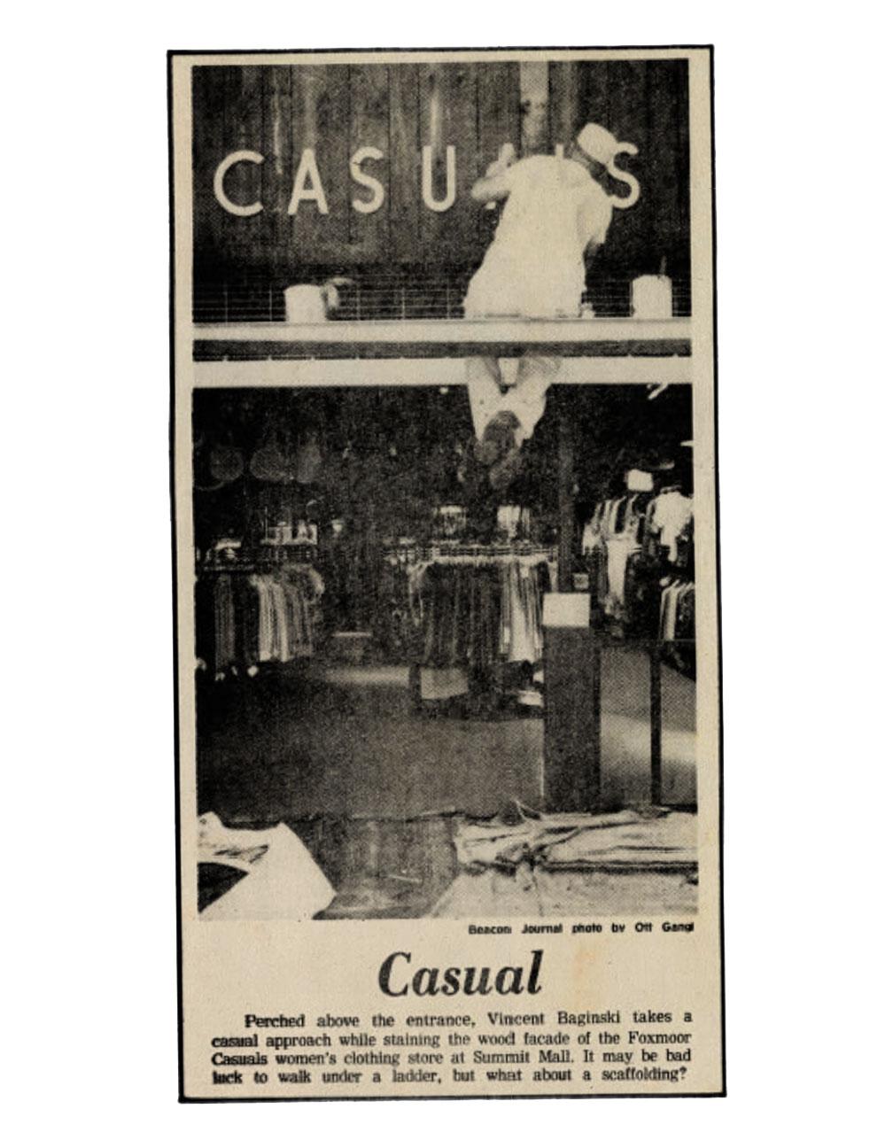 Foxmoor Casuals at Summit Mall, Akron, Ohio - Akron Beacon Journal 1977