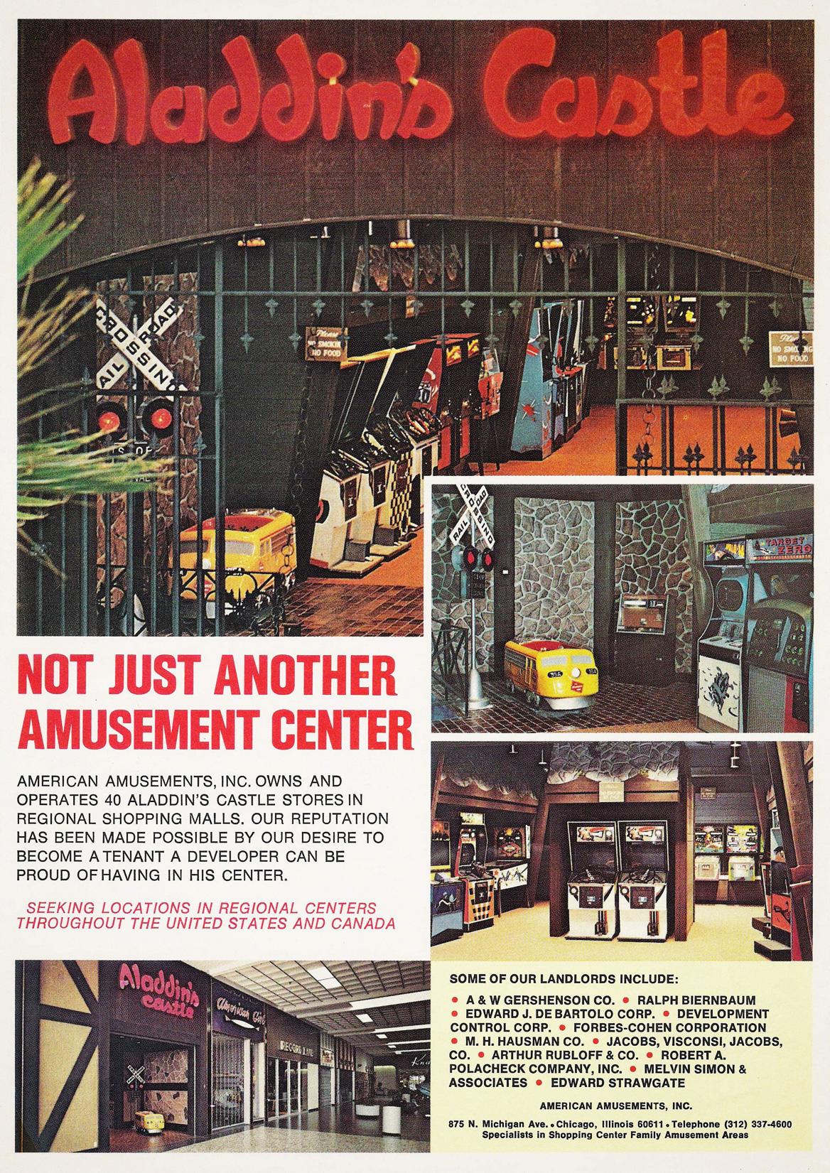 American Amusements Aladdins Castle Advert