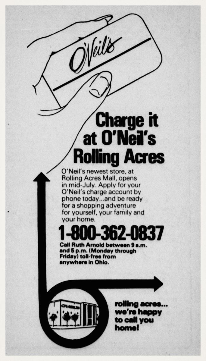 Oneils charge advertisement akron ohio