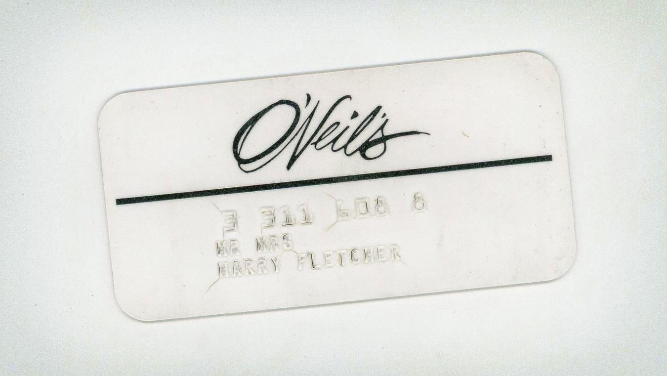 Vintage 60s O'Neil's Credit Card